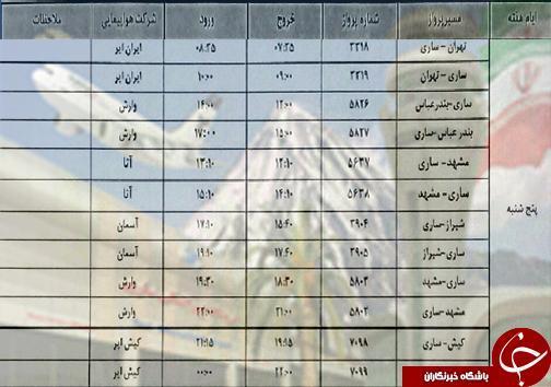 پرواز های پنج شنبه 23 آبان ماه فرودگاه های مازندران