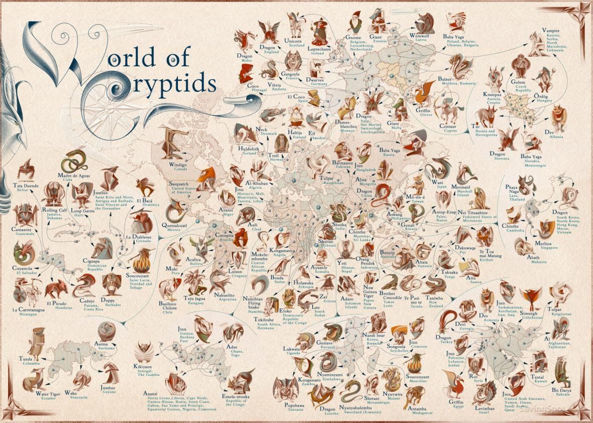 بسیار جالب: نقشه محبوب ترین موجودات افسانه ای در کشورهای مختلف دنیا
